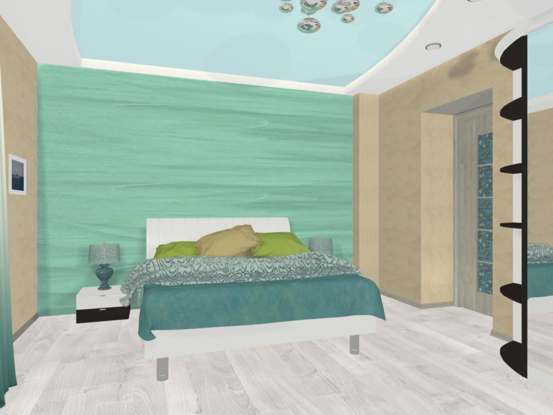 """imagen de El concepto de """"navegar por el mar"""" en el interior de un dormitorio en 3d max mental ray"""
