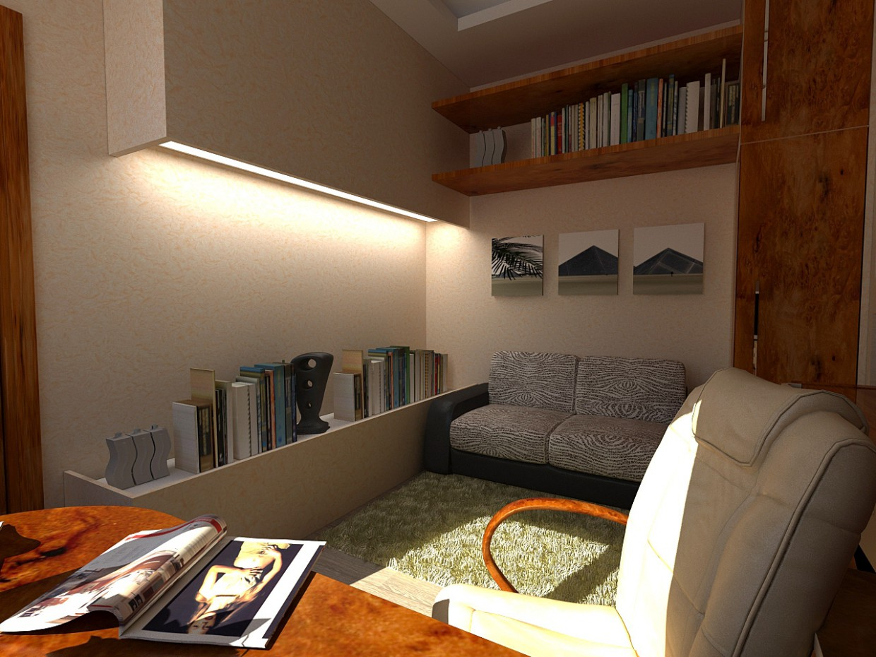 3d visualization of the project in the Cabinet in a private house 3d max, render vray of grin-81
