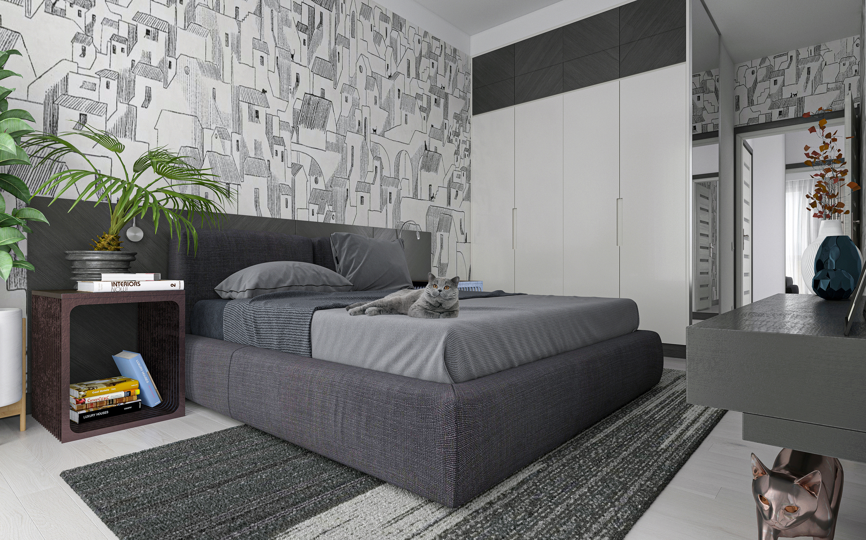 Dreizimmerwohnung S64 in 3d max corona render Bild
