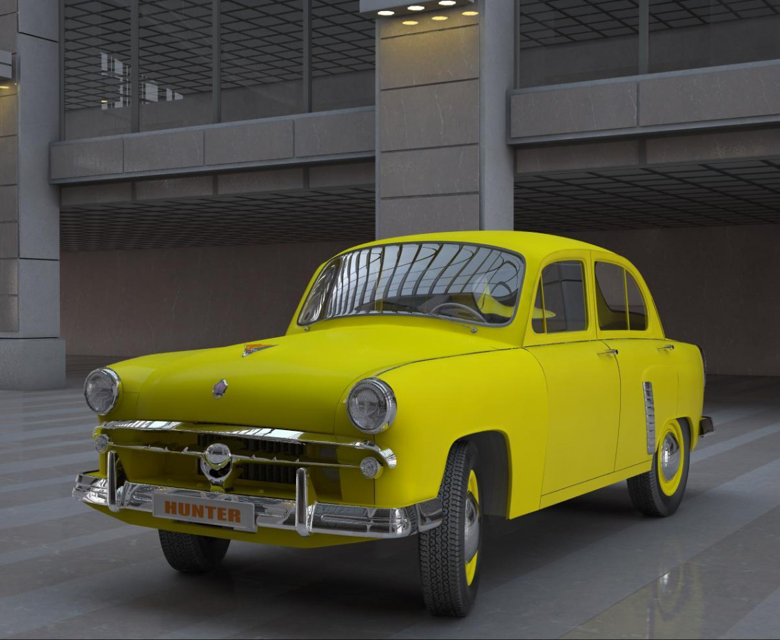 "Yellow ""Moskvich"" in 3d max vray image"