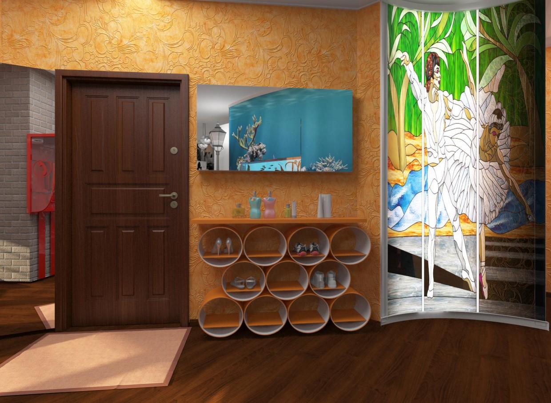 visualización 3D del proyecto en el Mueble de entrada 3d max render vray LiliY