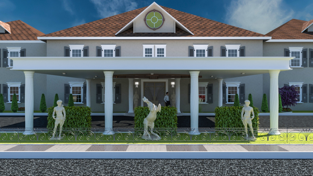 Front façade of a residence in 3d max vray 3.0 image