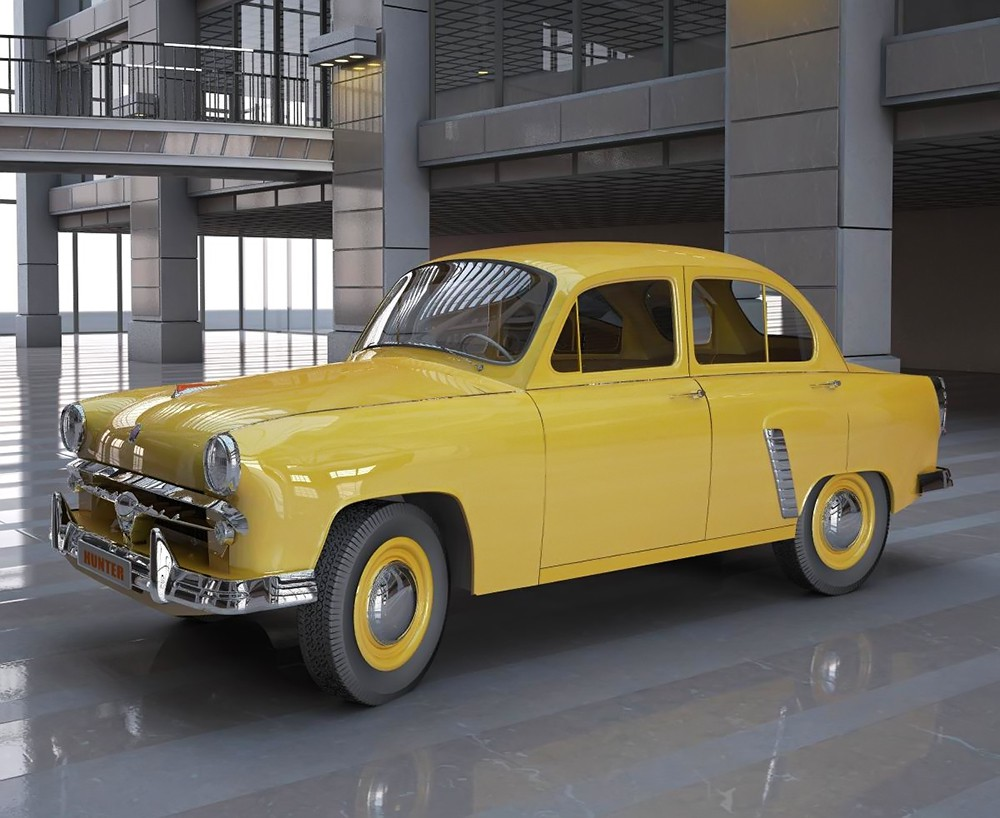 "Yellow ""Moskvich"" (1) in 3d max vray image"