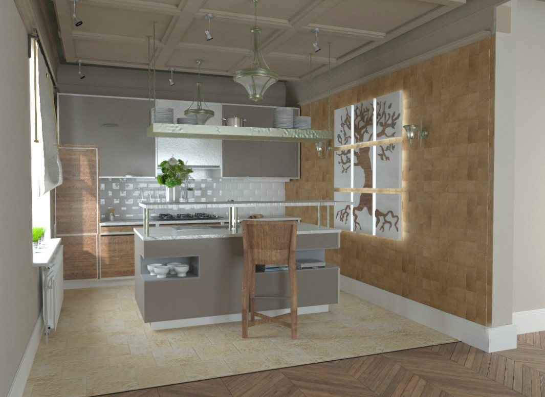3d visualization of the project in the Kitchen 3d max, render vray of irishka.ferrum
