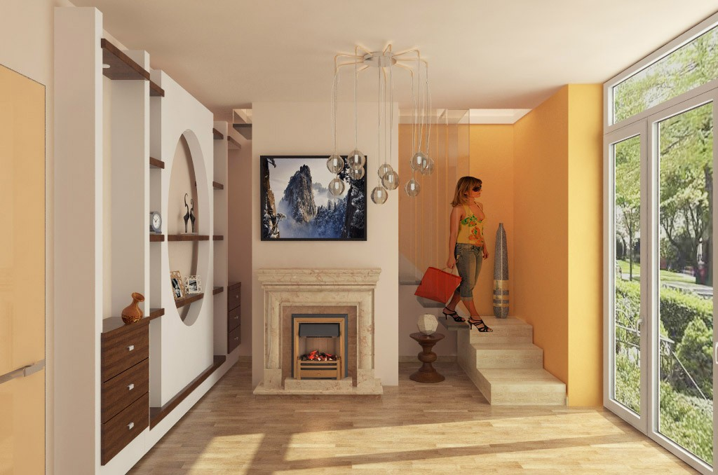 Hall with fireplace in 3d max vray 2.0 image