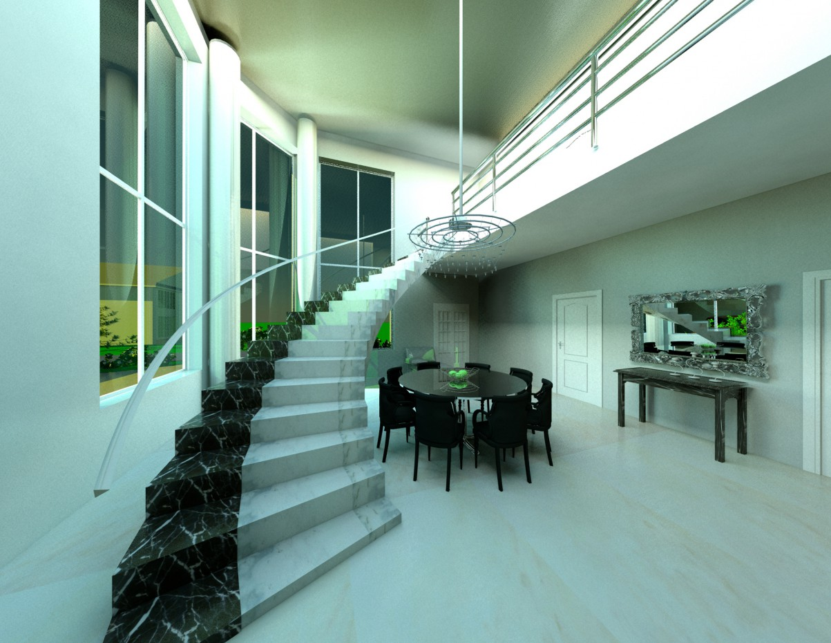 monolithic staircase in the living room in 3d max vray image
