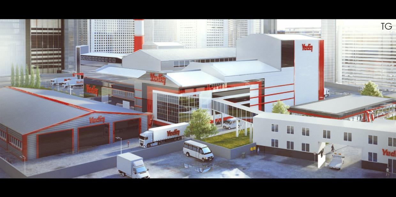 3d визуализация проекта Фабрика в Cinema 4d, рендер vray от Тигран Герикян