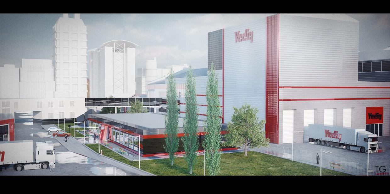 Фабрика в Cinema 4d vray изображение