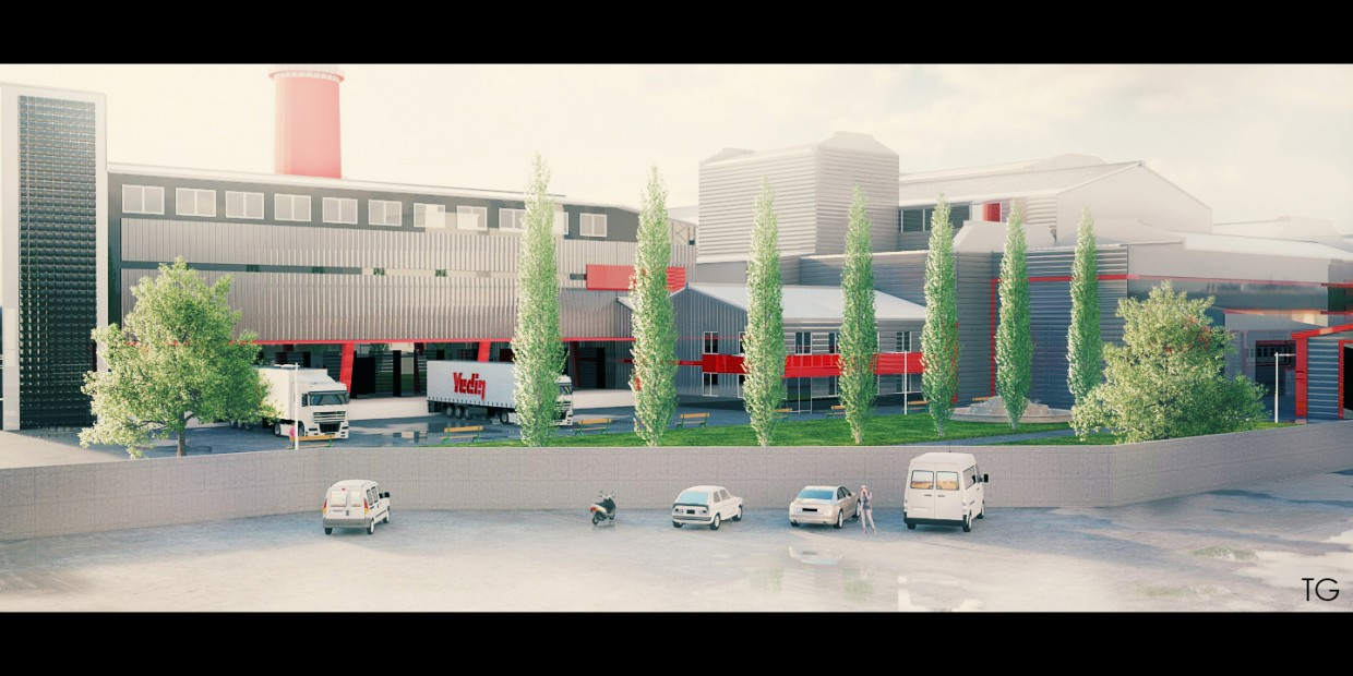 Factory  in  Cinema 4d   vray  image