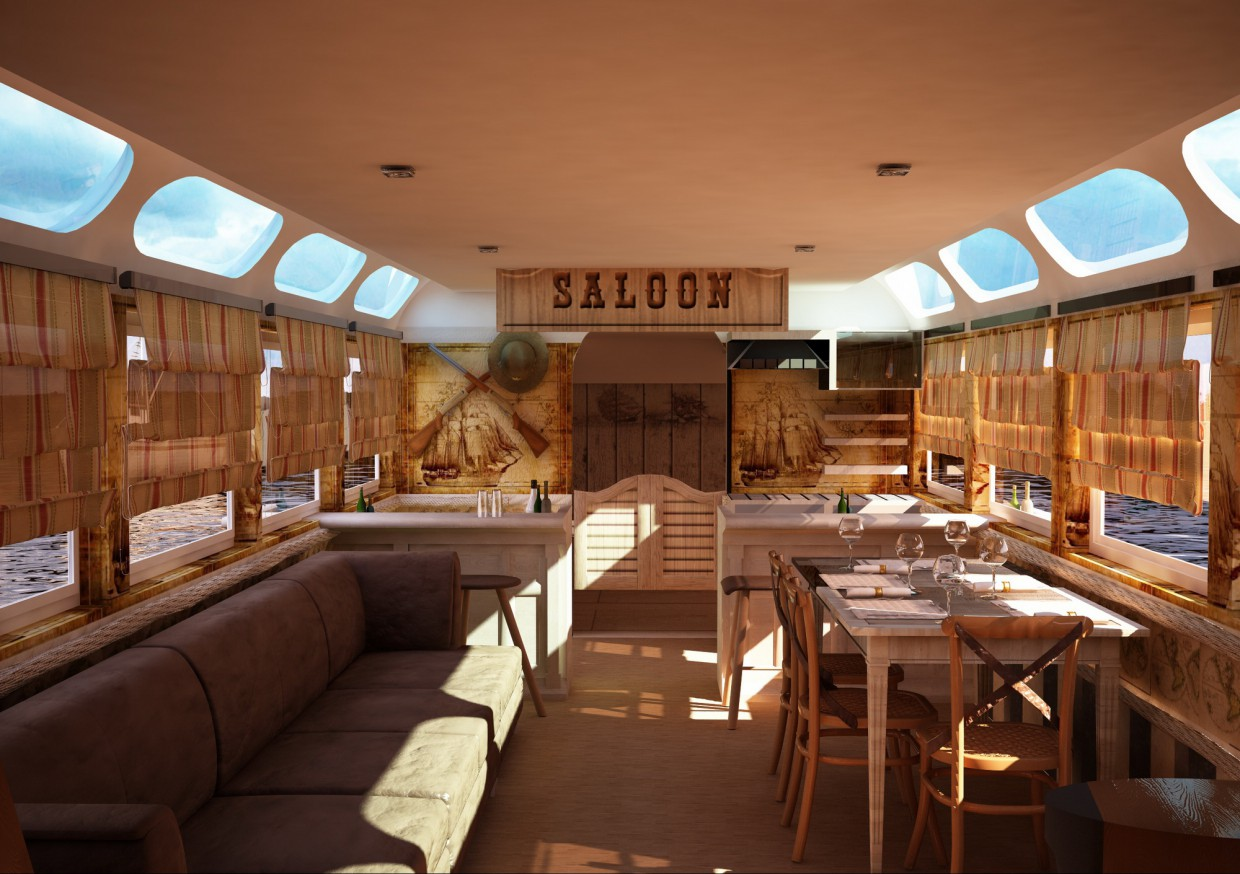 3d visualization of the project in the Interior private ship Cinema 4d, render vray of elementa