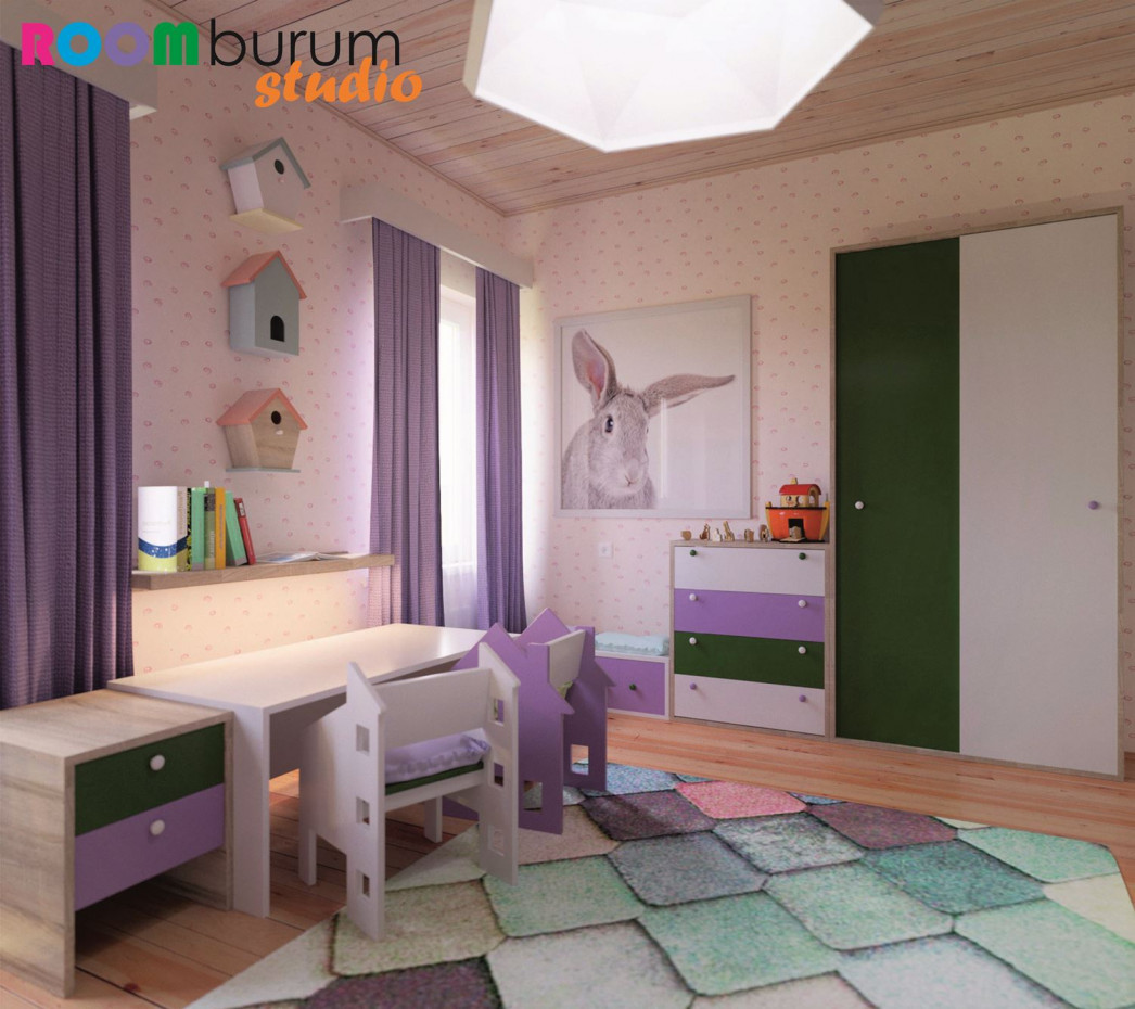 Children's bedroom in 3d max corona render image