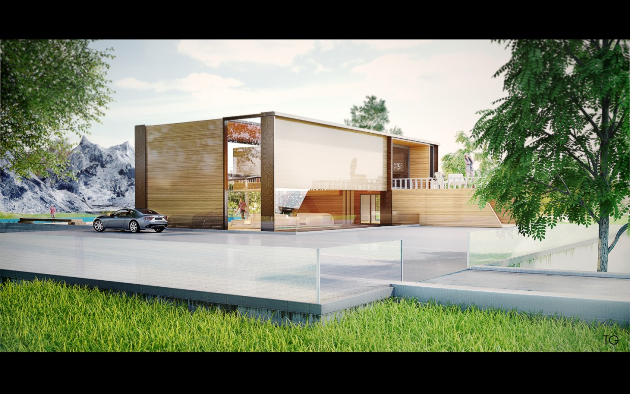 The concept of a private house. in Cinema 4d vray image