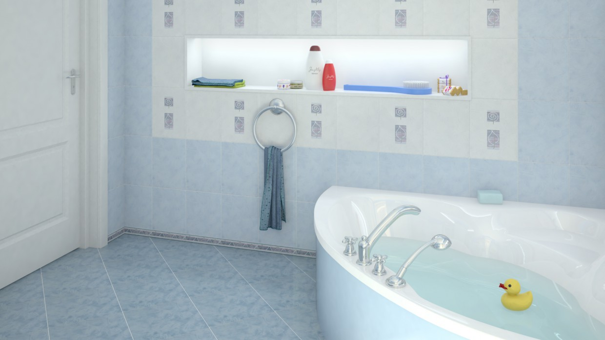 Blue bathroom in Maya vray image