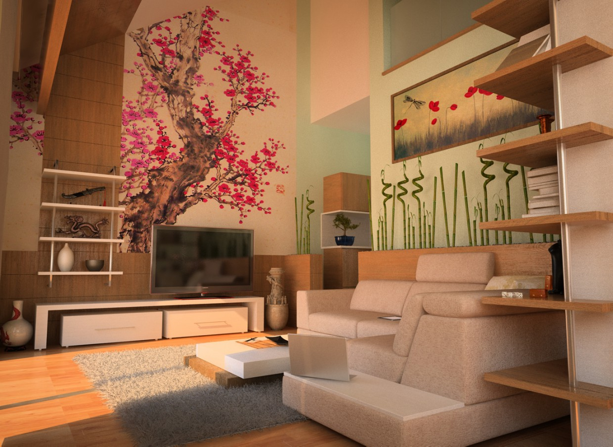 Oriental Spring in 3d max vray image
