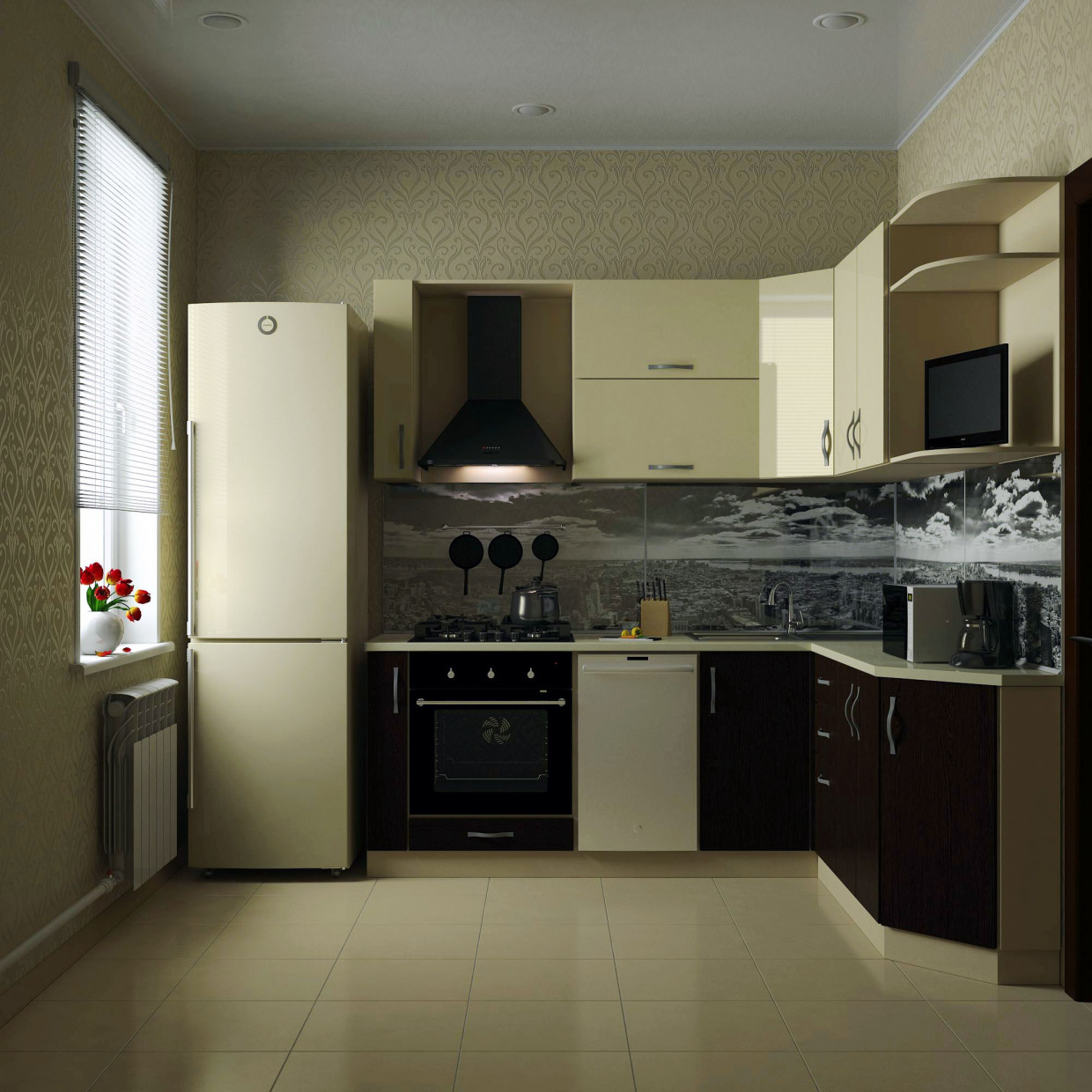 "3d visualization of the project in the Kitchen in ""hruschevke"" 3d max, render vray 2.0 of anorexia"