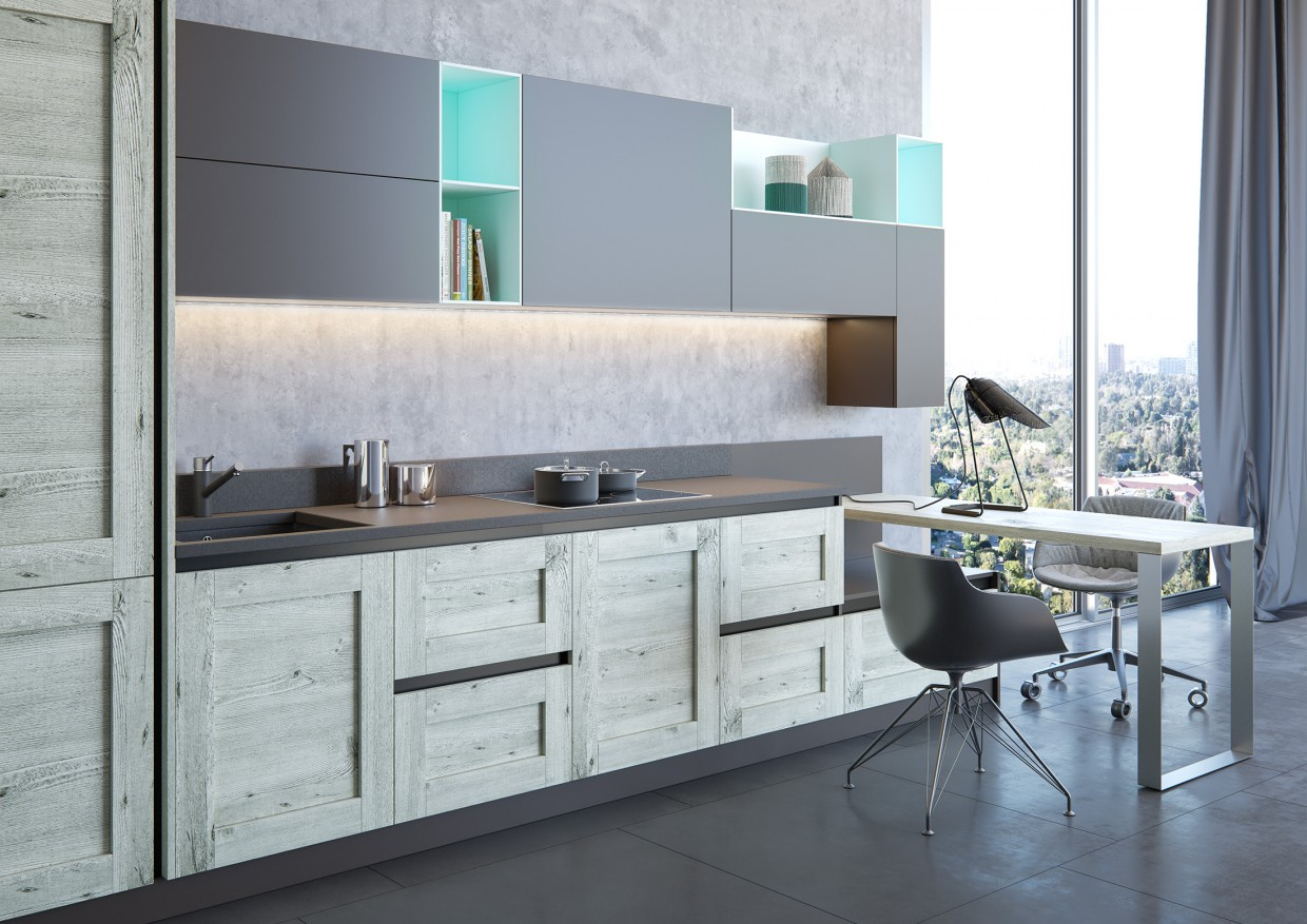 Kitchen Elnova | Gerbera black edition in 3d max corona render image