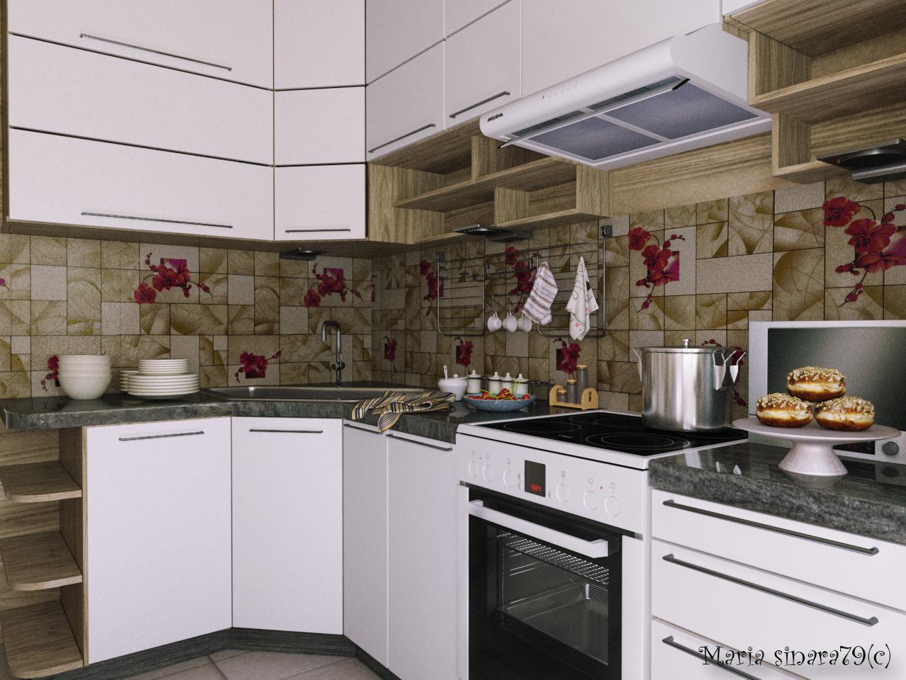 Cucina calda in 3d max corona render immagine
