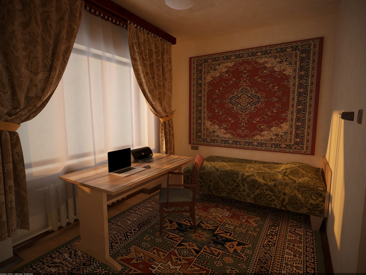 3d visualization of the project in the Bedroom Soviet-style 3d max, render vray of Skullf