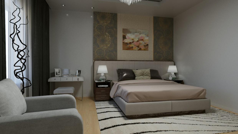 Cпальня в современном стиле в 3d max corona render изображение