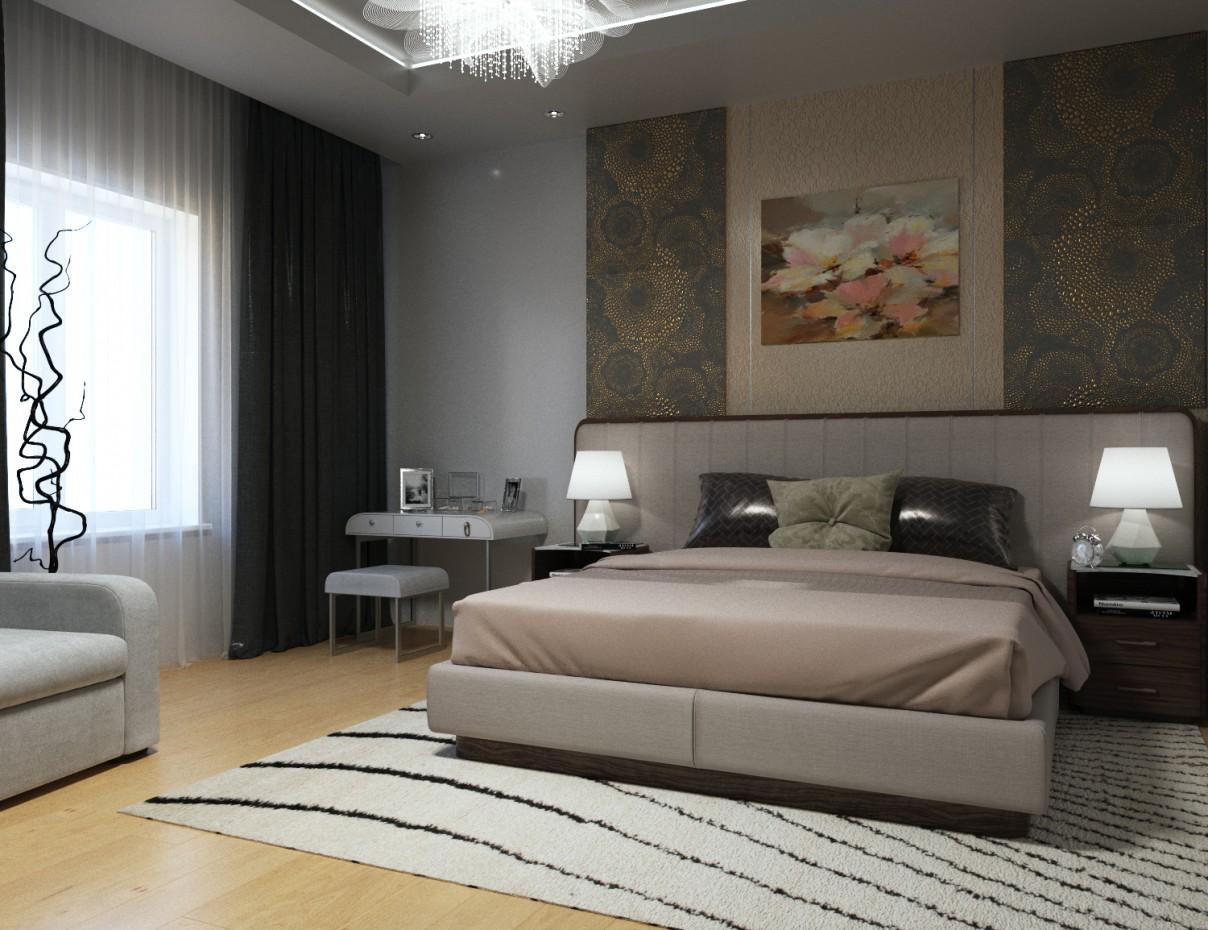 Cпальня в сучасному стилі в 3d max corona render зображення