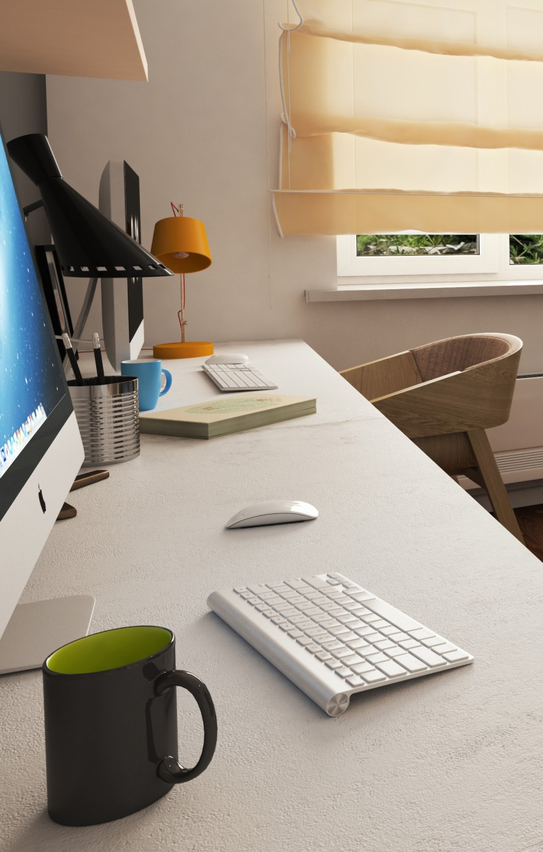 Work room in 3d max vray image