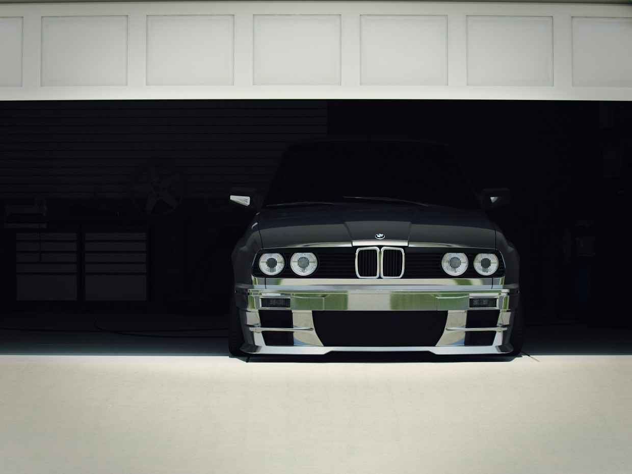 BMW in a garage in 3d max vray image