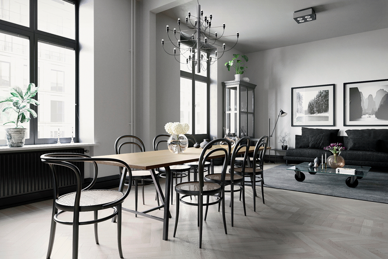 Visualization of the dining area in 3d max corona render image