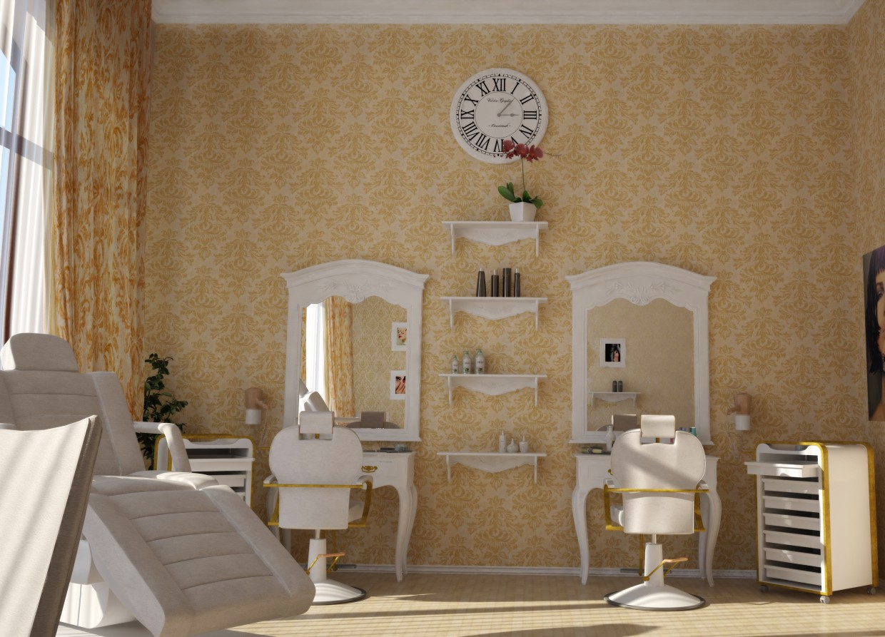 3d visualization beauty salon in the hotel. Black Bedroom Furniture Sets. Home Design Ideas