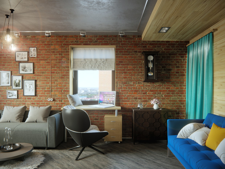 Квартира на чердаке в Cinema 4d corona render изображение