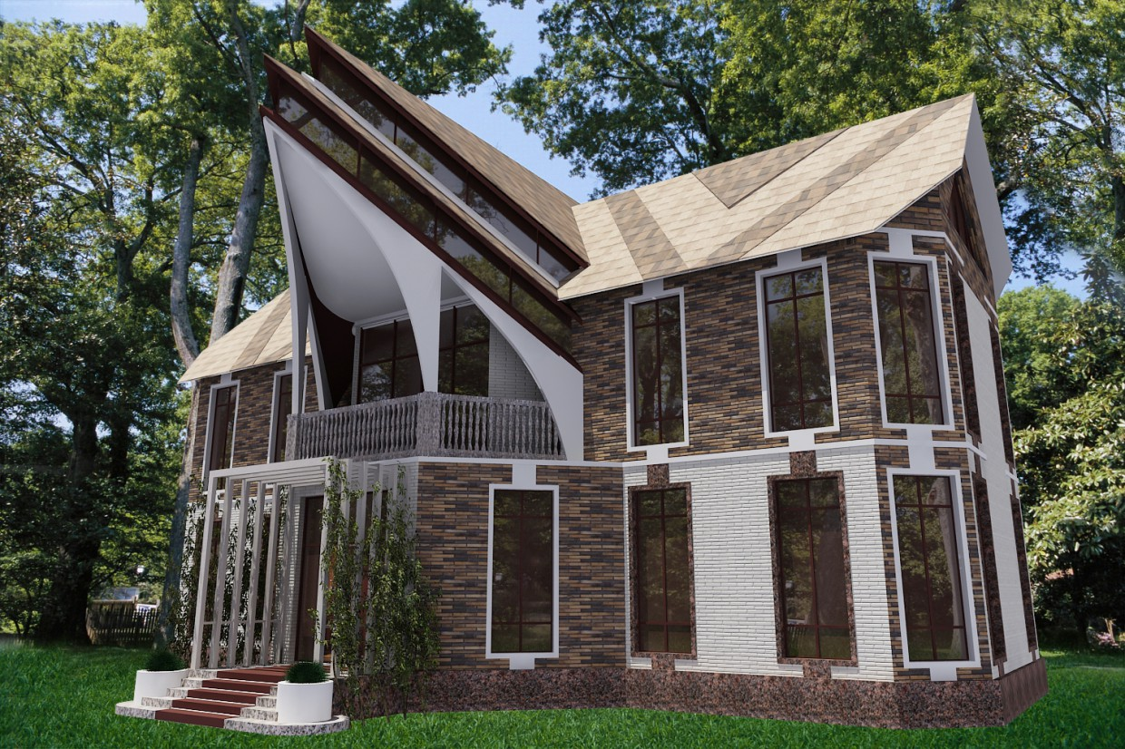 The exterior of a house in 3d max vray image
