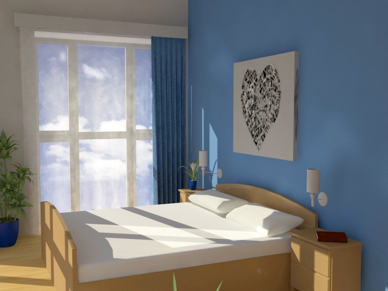 3d visualization of the project in the Bedroom Honeymoon 3d max, render vray of Даша24