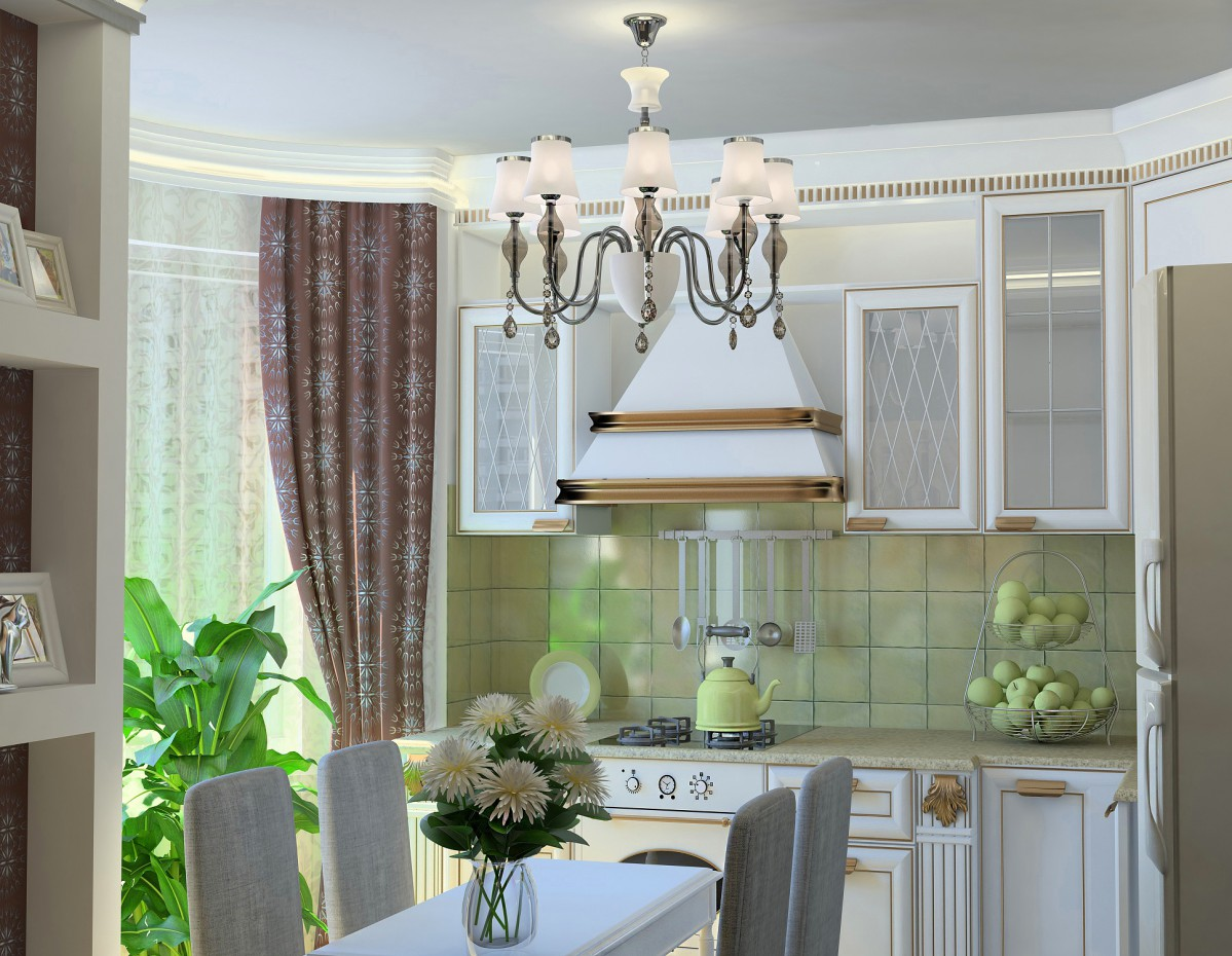 Warm antique kitchen in 3d max vray image