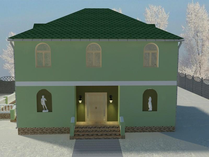 Дом со статуями. Зимнее настроение в 3d max vray изображение