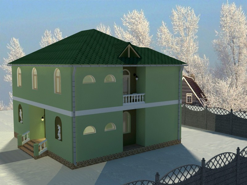 House with statues. Winter mood in 3d max vray image
