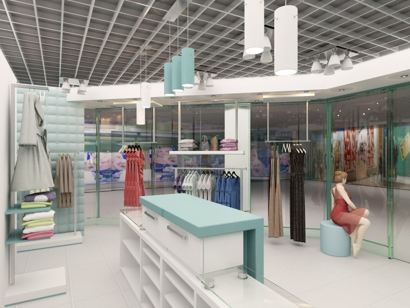 3d visualization of the project in the Clothing Store 3d max, render vray of kuzmenyu4ka