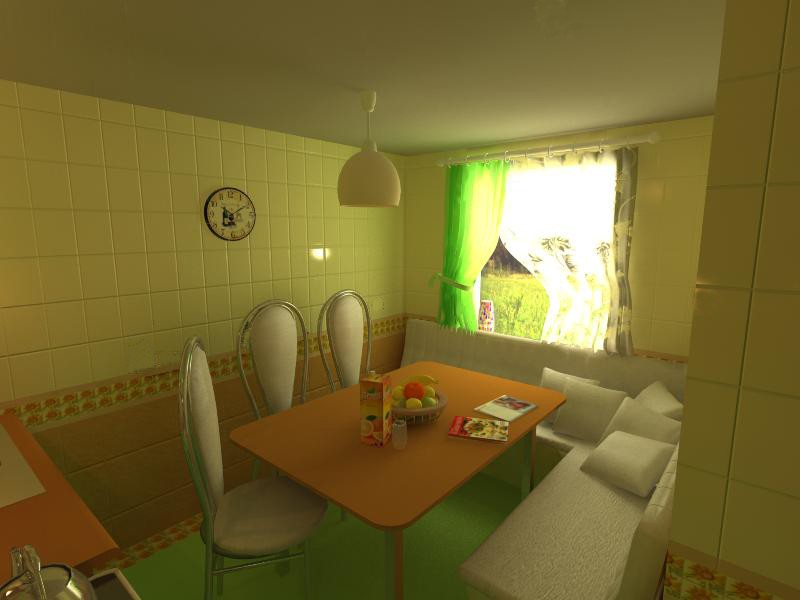 The kitchen in the country in 3d max vray image
