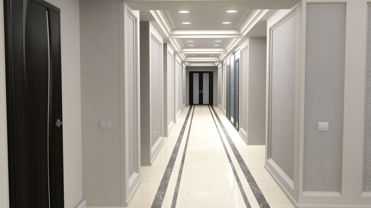 Hall corridor in Maya mental ray image