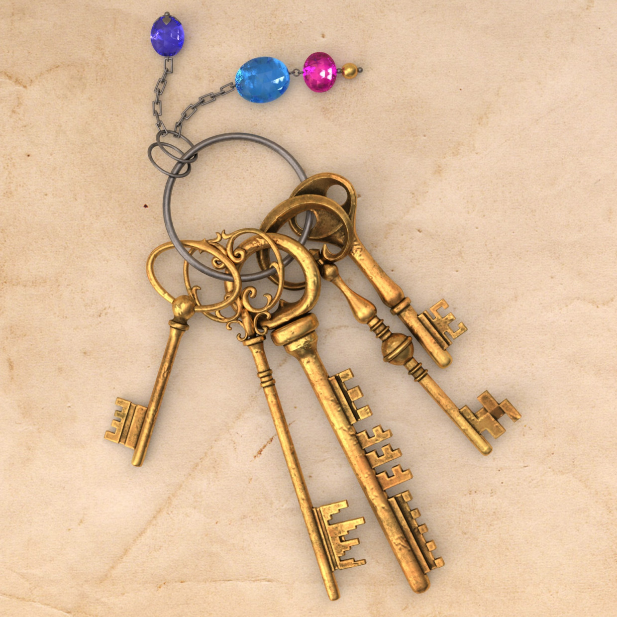 Keys with Keychain in 3d max vray 3.0 image