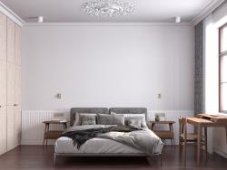 Representación 3D de un dormitorio.