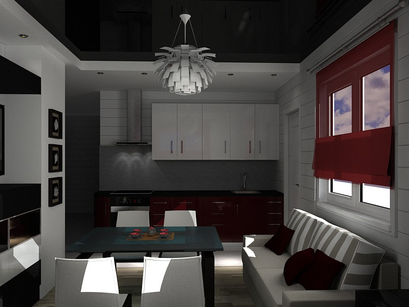 Small kitchen-dining room, living in a house made of logs in 3d max vray image