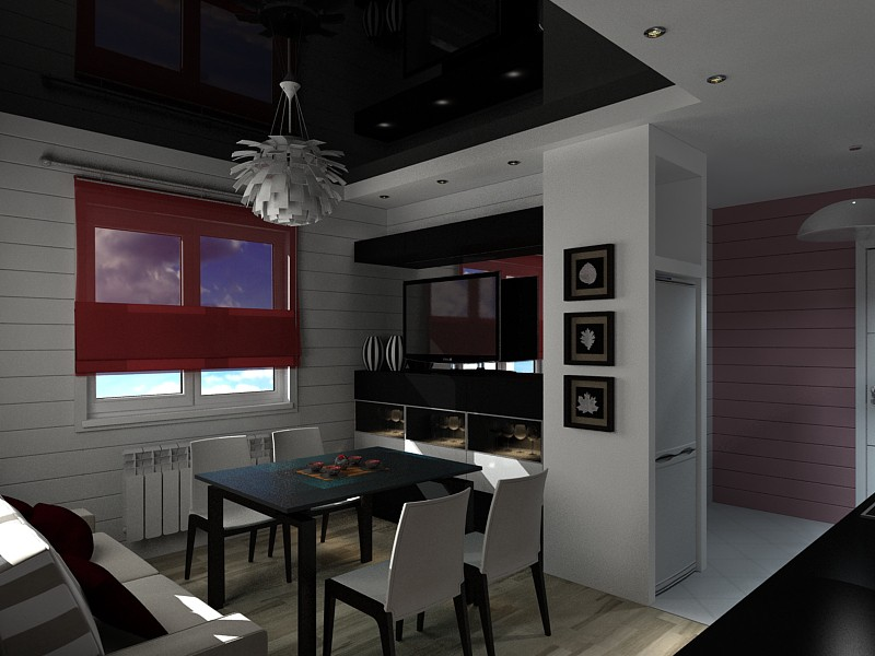imagen de Pequeña cocina-comedor, vivir en una casa hecha de troncos en 3d max vray