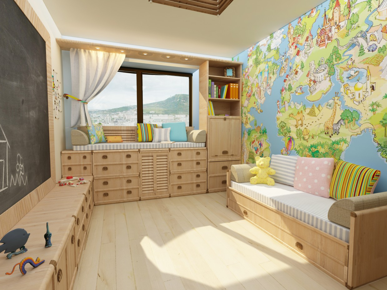 3d visualization of the project in the Children's room 3d max, render vray of kuzmenyu4ka
