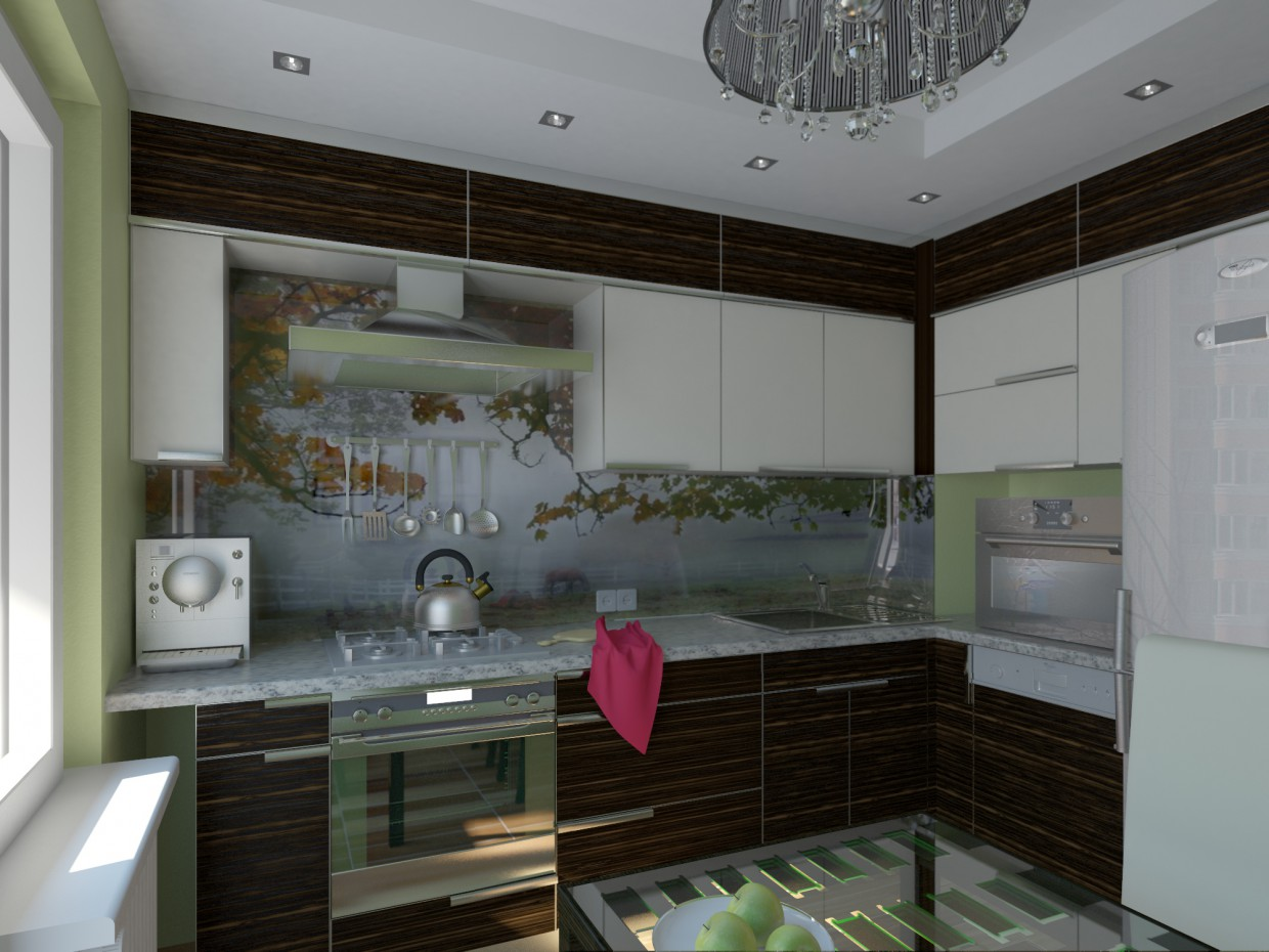 3d visualization of the project in the small autumn kitchen 3d max, render vray of kumana