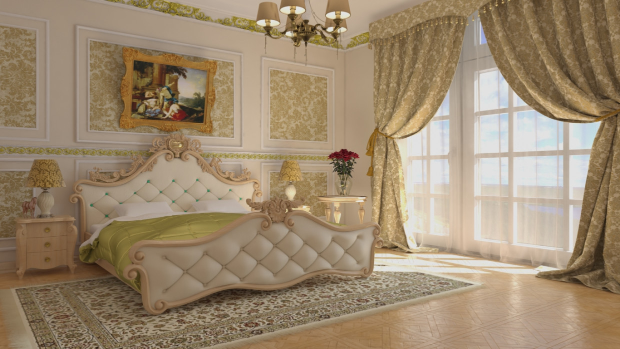 3d visualization of the project in the Bedroom 3d max, render vray 3.0 of Ihantley