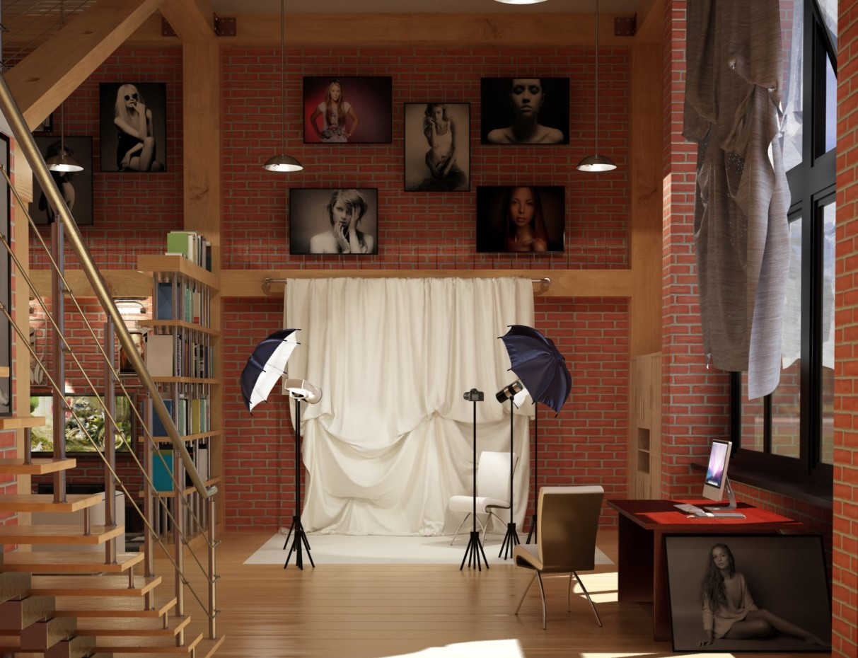Квартира студия в 3d max vray изображение