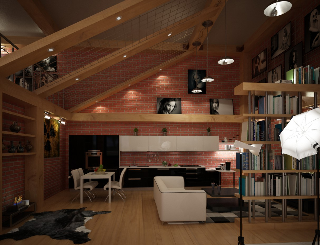 Apartment Studio in 3d max vray image