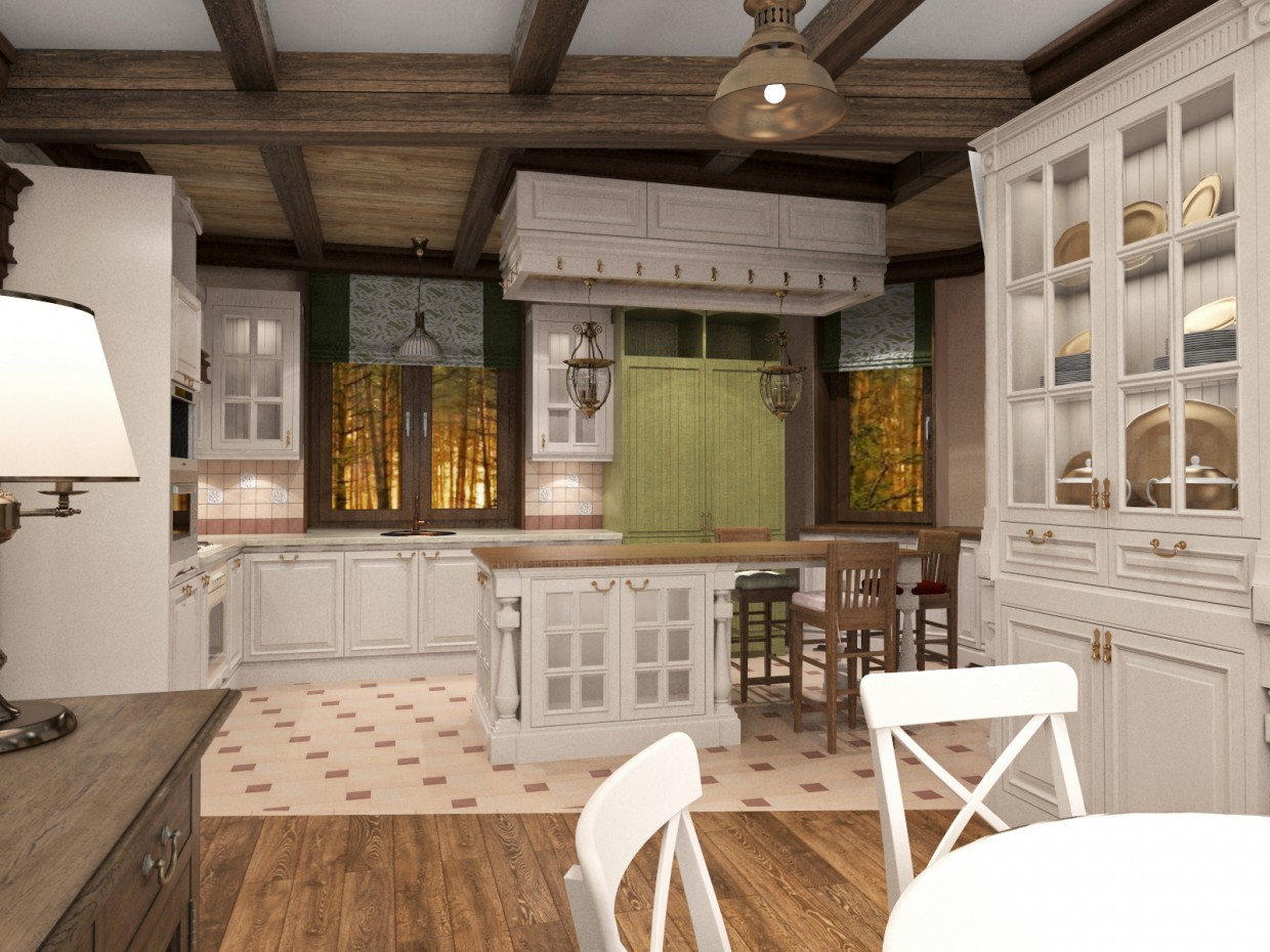 Kitchen-living country-Provence) in 3d max vray image