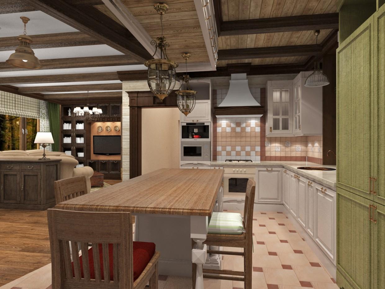Кухня-гостиная кантри-прованс) в 3d max vray изображение