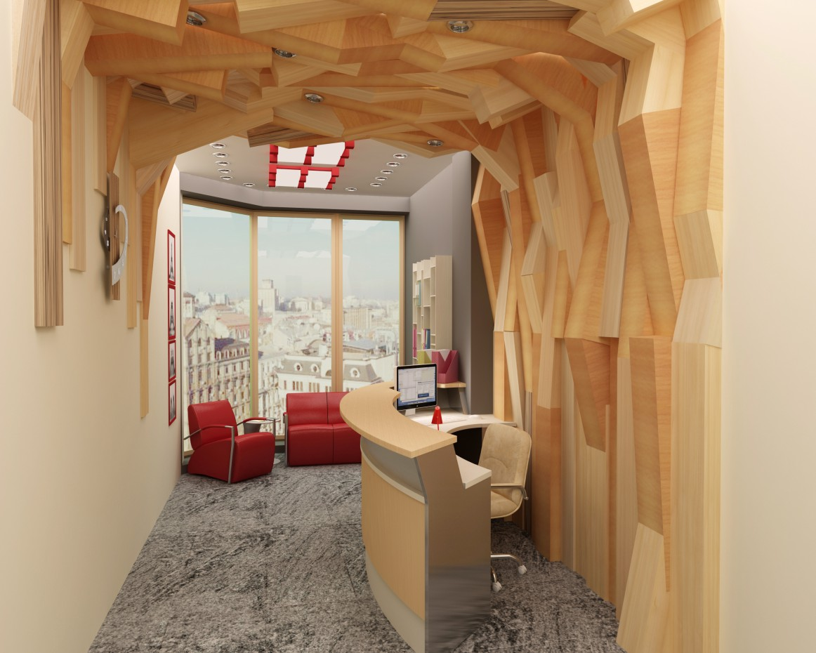 3d visualization of the project in the Reception 3d max, render vray of kuzmenyu4ka
