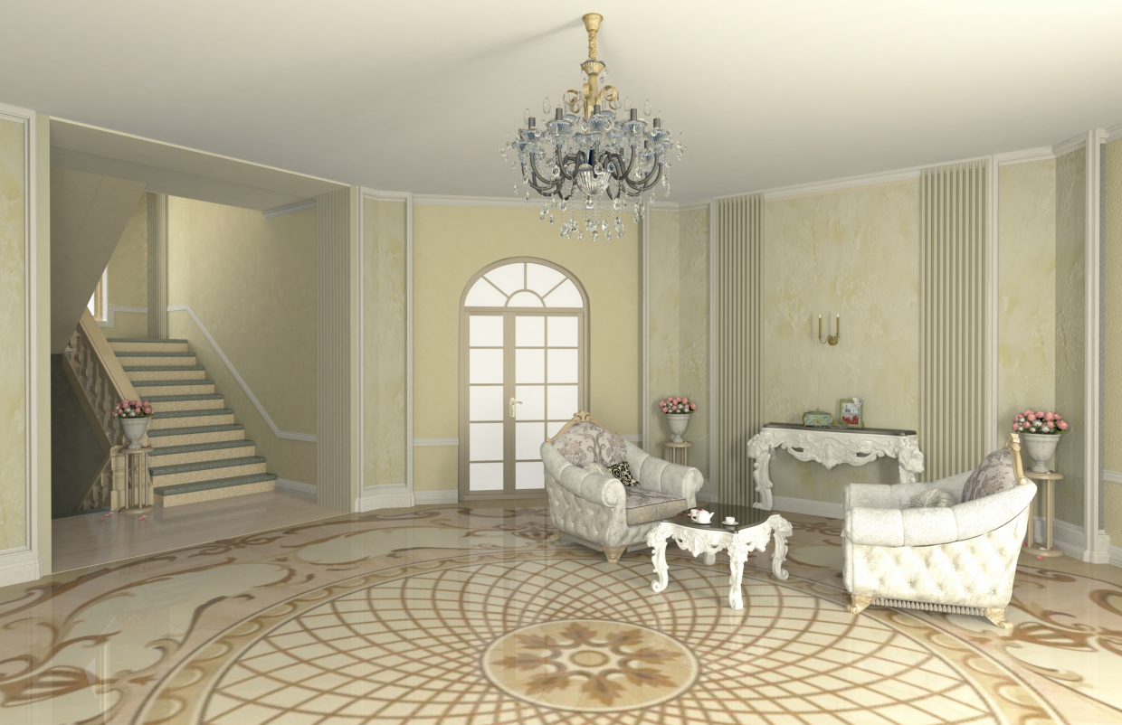 hall in Maya mental ray image